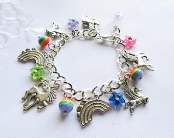 Kawaii Charm Bracelet, Unicorn Bracelet, Rainbow Bracelet, Cute Bracelet, Kawaii Kei, Fairy Kei, Pegasus, Unicorn, Rainbow, Fantasy
