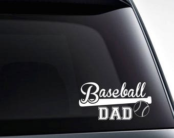 Baseball dad die cut vinyl decal sticker, quality vinyl car decals and more