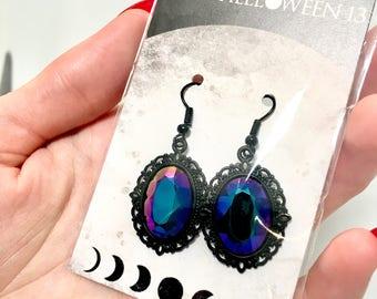 Gothic gem earrings - Black with blue purple gem