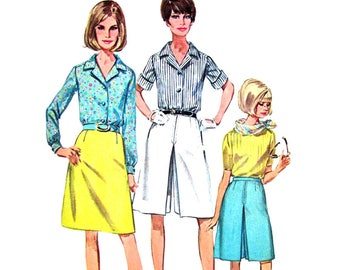 1960s Blouse Skirt Culottes Pattern Simplicity 7134 Inverted Pleat Womens Size 12 or 14 Vintage Sewing Pattern