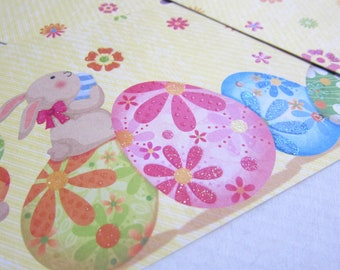 Easter greeting cards and spring - bunnies, eggs and small flowers - set of 3 with envelopes