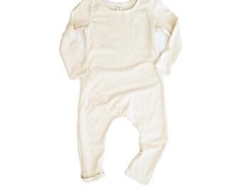 Cream Harem Romper | long sleeve romper, baby onesie, solid romper