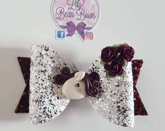 Unicorn and roses hair bow