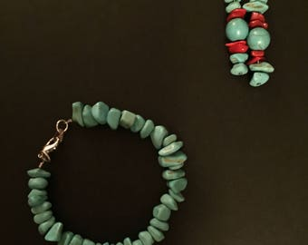 Elegant and Classy Turquoise and Red Bracelet and Earring Set
