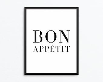 Bon Appetit Print, Kitchen Print, Kitchen Art, French Print, Food Print, Kitchen Poster, Food Art, Bon Appetit Poster, Kitchen Printable