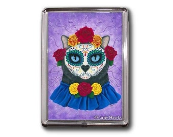 Cat Day of the Dead Magnet Sugar Skull Cat Mexican Gothic Fantasy Art Magnet Gifts For Cat Lovers