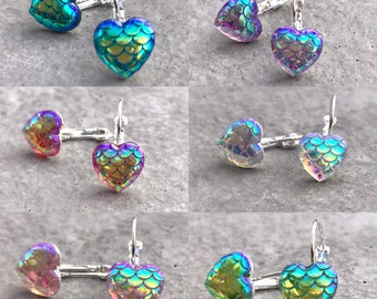 Iridescent resin mermaid / dragon scale drops - mini hearts