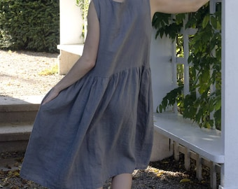Vasilisa Frock (CUSTOM SIZE) linen dress / linen clothing / women's clothing / sleeveless linen frock