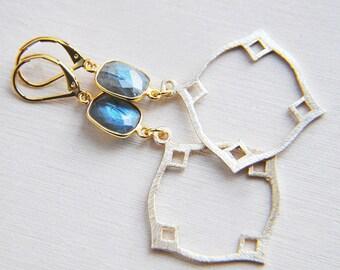 Labradorite Earrings, Stone Earrings, Natural Stone, Blue Flash, Boho Wedding, Bohemian Wedding, Gifts for Her, Gifts for Mom, Boho Earrings