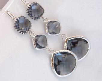 Gray Earrings, Grey, Charcoal, Glass Earrings, Silver, Long, Wedding Jewelry, Bridesmaid Earrings, Bridesmaid Jewelry, Bridesmaid Gifts