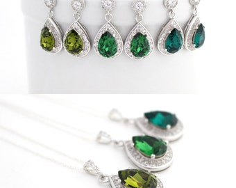 Green Wedding Jewelry Set Swarovski Earrings and Necklace Set Bridesmaid Emerald Jewelry Moss Green Bridal Crystal Jewelry Bridesmaid Gift
