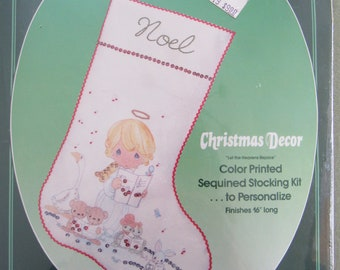 Sealed Sequined Christmas Stocking Kit Vintage PRECIOUS MOMENTS Personalized Kit Holiday Christmas Stocking Decor New Baby 1st Christmas