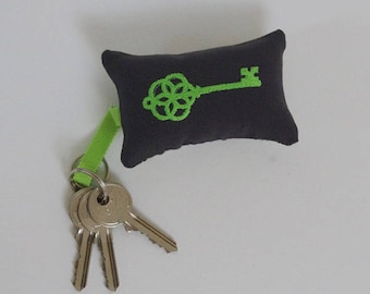 Green embroidered keychain