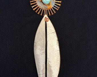 Raku Leaf with steel and blue bead