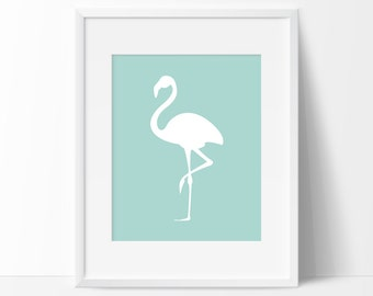 Seafoam Flamingo Art Print, Graphic Art, Printable Art, Flamingo Print, Flamingo Art, Sea Foam Graphic Art Print, Wall Prints, Home Decor