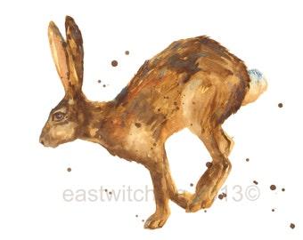 HARE Print - landscape format, watercolor hare, hare art