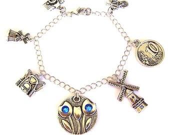 Holland charm bracelet, Holland necklace, Netherlands bracelet, travel, tulip, windmill, Amsterdam, travel charm, love Holland, Dutch charm
