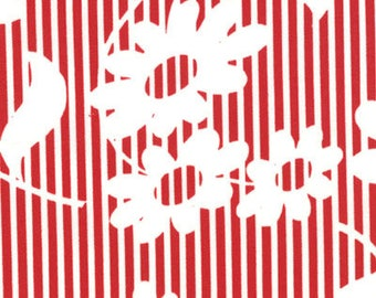 Urban Chiks Fabric, Hullabaloo by Urban Chiks for Moda Fabrics, 32401-17 Red & White Flower Stripes