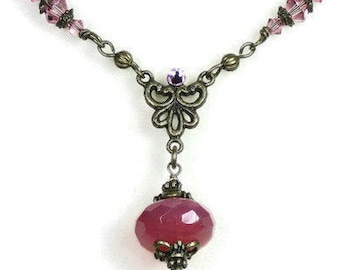 Romantic Vintage Style Necklace, Pink Grapefruit Sorbet Czech Glass Swarovski Victorian Style Necklace,  Gifts of Love for Her
