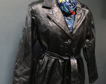 70's vintage black leather patchwork trench / coat.