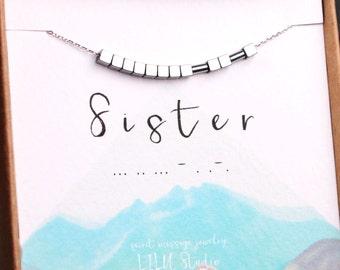Sister in law gift, Morse code necklace, sister necklace, Morse code bracelet, sterling silver, sister gift, sister bracelet, dainty silver
