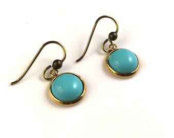 Faux turquoise dangle dangly drop earrings in gold setting with niobium ear wires for sensitive ears