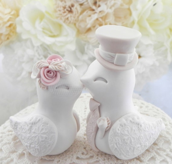 Love Birds Wedding Cake Topper, White, Dusty Pink and Beige, Bride and Groom Keepsake, Fully Customizable