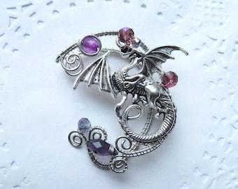Silver Ear Cuff Dragon Purple Ear Cuff Wire Jewelry No Piercing Wing Ear Cuff Wire Jewelry Wire wrapped ear cuffs Jewelry