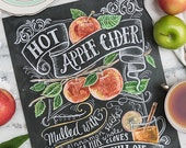 Fall Art - Fall Decor - Apple Decor - Apple Art - Fall Apple Cider Print - Autumn Decor - Thanksgiving Decor- Chalkboard Art - Hand Drawn