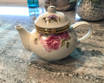 """Teapot Kettle Hinged Trinket Box Baum Bros. Formalities """"Summer Flowers Collection"""", Tea Pot Cotton Ball Storage Container, Item #603297433"""