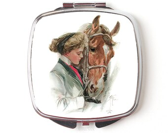 Horse Compact Mirror - Horse Gift - Vintage Horse Illustration - Equestrian Gift