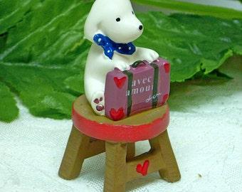 Miniature Dog Figurine  Dog Figurine AVEC AMOUR Fairy Dog White Dog Sitting on Bench Mini Garden Pedestal