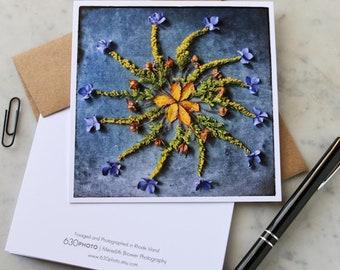 Blue Velvet Mandala Note Card, 5x5 square with envelope, blank inside.