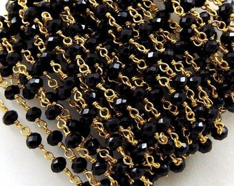 10 Feet Black Spinel Hydro Rondelle 3-3.5mm Faceted 24K Gold Plated Rosary Chain Jewelry Gemstone/Wire Wrap Chain/Rosary/Chains/Black Spinel