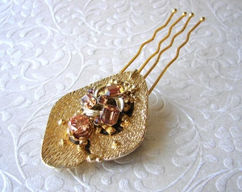 Abstract Champagne Gold Topaz Rhinestone Bridal Hair Comb Golden Jeweled Wedding Hairpiece Vintage Costume Jewelry Amber Headpiece Pantone