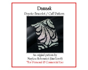 Peyote Bracelet Pattern ... DAMASK ... Beadwoven Cuff . Fabric Inspired . Classic . Feathery . Elegant . Two Color . Beautiful . 3 for 2