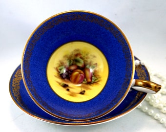 Very Elegant Aynsley Footed Duo, Fruit Orchard Pattern, Navy Blue Gilded Borders, Bone English China made in 1970s