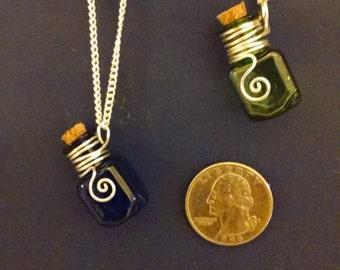 tiny bottle necklaces, essential oils