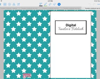Digital, Paperless Travelers Notebook, Teal with White Stars