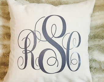 Monogrammed Pillow Case, bridal shower gift, wedding gift, personalized pillow