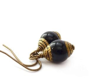Black & Gold Onyx Earrings - Tibetan Style Boho Earrings - Short Petite - Bohemian Jewelry