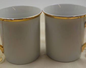 Vintage set of 2 Coffee Mugs - Porcelain - Gold Gilding - Coffee Cups - 8 ounce -1970 Era - Made in Japan
