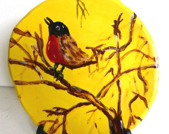 plate 7 inch dessert decorative plate wall plate yellow brown bird robin plate collectibles home decor