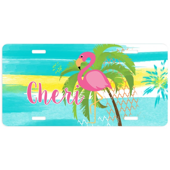 Car Tag Pink Flamingo Personalized Car Tag Flamingo