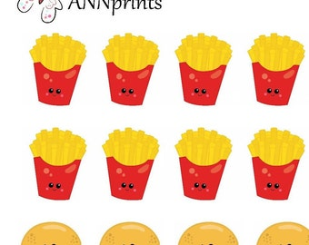 Fries and hamburger planner stickers