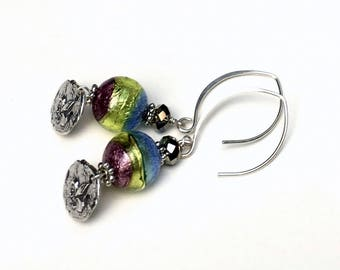 Purple Lime Blue Murano Glass Sterling Silver Fleur de Lis Drop Dangle Bohochic Earrings, for her Under 100, One of a Kind