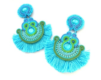 Turquoise Tassel Earrings, Long Clip-On Earrings, Flamenco Earrings, Unique Soutache Earrings, Fringe Earrings, Statement Earrings