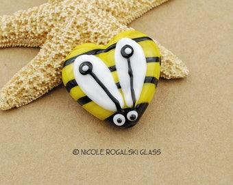 Bumble Bee Heart Focal - Handmade Lampwork Glass Beads Yellow, Black, White