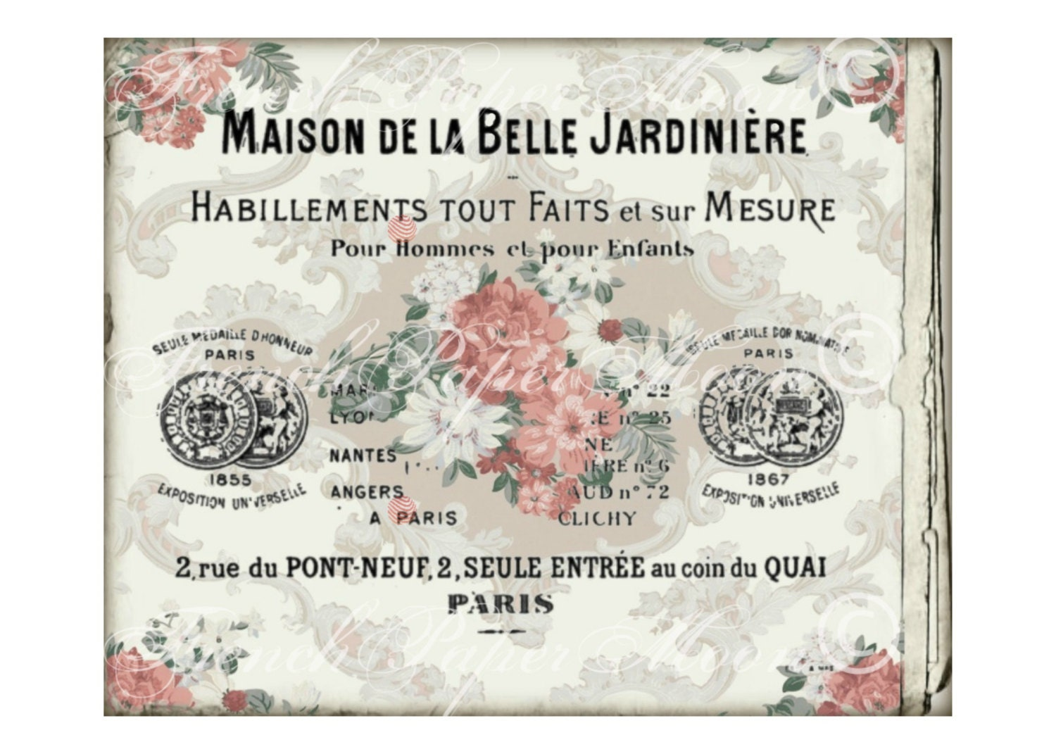 Digital French Card, Wallpaper Floral Background, Vintage Digital ...