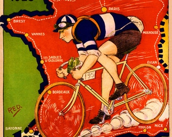 """Bike 16""""x20"""" Tour de France Meteore Bicycle Cycle 1925 Paris Franch Sport  Vintage Poster Repro Paper/Canvas FREE SHIPPING in USA"""